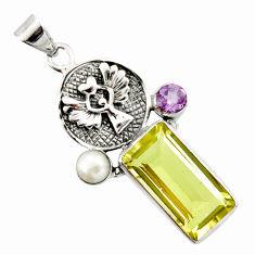 925 silver 10.03cts natural lemon topaz amethyst eagle charm pendant r20464