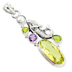 925 silver 10.26cts natural lemon topaz amethyst fairy mermaid pendant r20575