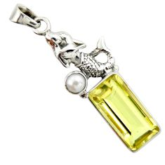 925 silver 9.65cts natural lemon topaz white pearl fairy mermaid pendant r20479