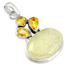 silver 16.54cts rare genuine libyan desert glass pendant r34052