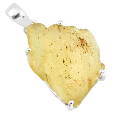 925 silver 18.14cts natural libyan desert glass (gold tektite) pendant r84374