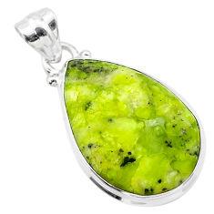 925 silver 13.12cts natural lizardite (meditation stone) pear pendant t26506