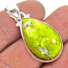 925 silver 14.18cts natural lizardite (meditation stone) pear pendant t42643