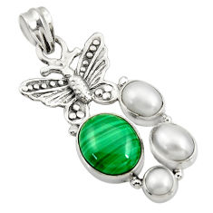 925 silver 10.54cts natural malachite (pilot's stone) butterfly pendant d42756