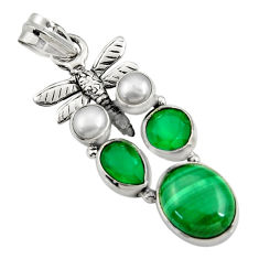 925 silver 10.33cts natural malachite (pilot's stone) dragonfly pendant d42752