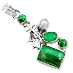 Clearance Sale- 925 silver 10.62cts natural malachite (pilot's stone) holy cross pendant d42749