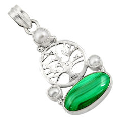 Clearance Sale- 925 silver 9.04cts natural malachite (pilot's stone) tree of life pendant d42745