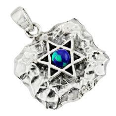 925 silver 0.55cts natural malachite in chrysocolla wicca symbol pendant c10279