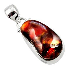 925 silver 13.09cts natural mexican fire agate fancy pendant r50048