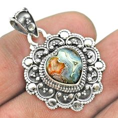 925 silver 5.16cts natural mexican laguna lace agate heart pendant t56125