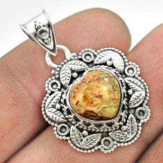 925 silver 5.35cts natural mexican laguna lace agate heart pendant t56137