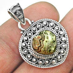925 silver 4.67cts natural mexican laguna lace agate heart pendant t56171