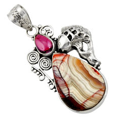 Clearance Sale- 925 silver 15.39cts natural mexican laguna lace agate pear fish pendant d42134