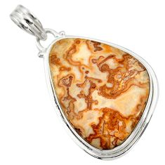 Clearance Sale- 925 silver 19.72cts natural mexican laguna lace agate pendant d42131