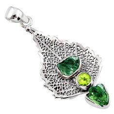 925 silver 8.42cts natural moldavite (genuine czech) deltoid leaf pendant r57105