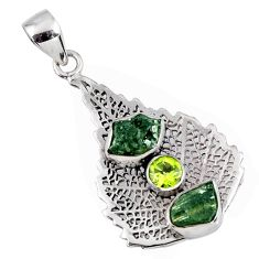 925 silver 7.54cts natural moldavite (genuine czech) deltoid leaf pendant r57107
