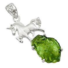 925 silver 9.06cts natural moldavite (genuine czech) horse pendant r29364