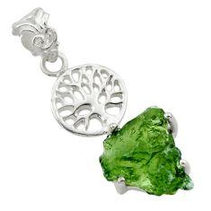 925 silver 9.50cts natural moldavite (genuine czech) tree of life pendant r29376
