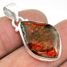 925 silver 7.96cts natural multi color ammolite (canadian) fancy pendant t18968
