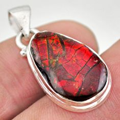925 silver 8.10cts natural multi color ammolite (canadian) fancy pendant t21899