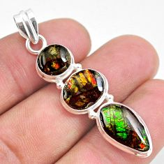 925 silver 11.20cts natural multi color ammolite (canadian) fancy pendant t34843