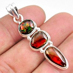 925 silver 10.76cts natural multi color ammolite (canadian) fancy pendant t34852