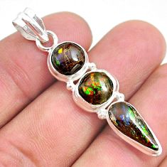 925 silver 9.83cts natural multi color ammolite (canadian) fancy pendant t34858