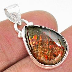 925 silver 8.76cts natural multi color ammolite (canadian) pear pendant t18988