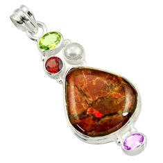 925 silver 20.65cts natural multi color ammolite (canadian) pearl pendant d44669