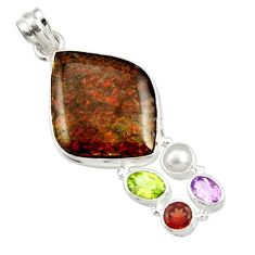 925 silver 20.07cts natural multi color ammolite (canadian) pearl pendant d44672
