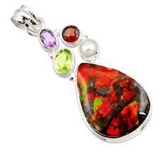 925 silver 20.65cts natural multi color ammolite (canadian) pearl pendant d44678
