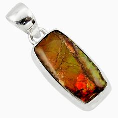 925 silver 11.17cts natural multi color ammolite (canadian) pendant r40157