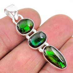 925 silver 8.87cts natural multi color ammolite (canadian) pendant t18908