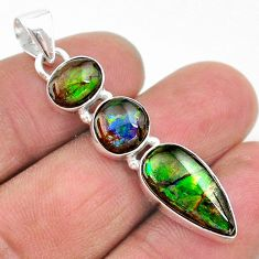 925 silver 11.20cts natural multi color ammolite (canadian) pendant t18917
