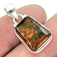 925 silver 7.63cts natural multi color ammolite (canadian) pendant t18972
