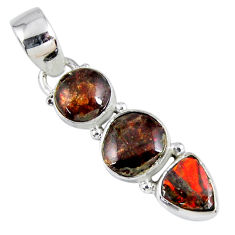 925 silver 8.39cts natural multi color ammolite (canadian) round pendant r55711