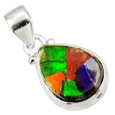 925 silver 9.72cts natural multi color ammolite triplets pear pendant r33665