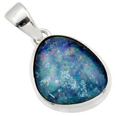 925 silver 10.73cts natural multi color australian opal triplet pendant r40178