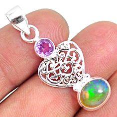 925 silver 3.83cts natural multi color ethiopian opal amethyst pendant r75469