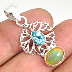 925 silver 4.84cts natural multi color ethiopian opal blue topaz pendant r76516