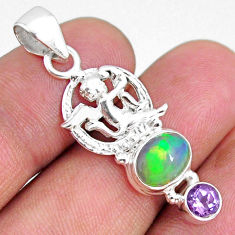 925 silver 4.08cts natural multi color ethiopian opal oval angel pendant r75447
