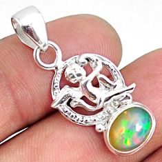 925 silver 2.93cts natural multi color ethiopian opal oval angel pendant r75476