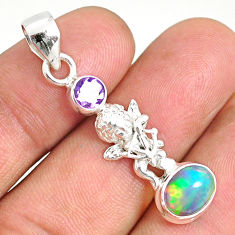 925 silver 3.10cts natural multi color ethiopian opal oval angel pendant r76504