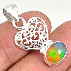925 silver 3.29cts natural multi color ethiopian opal oval heart pendant r76519