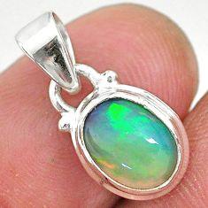 925 silver 2.56cts natural multi color ethiopian opal oval shape pendant t2868