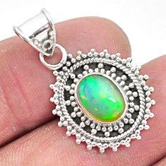 925 silver 3.27cts natural multi color ethiopian opal oval shape pendant t3055