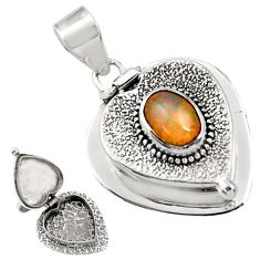 925 silver 2.07cts natural multi color ethiopian opal poison box pendant r30727