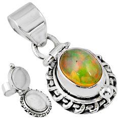 925 silver 2.98cts natural multi color ethiopian opal poison box pendant r55590