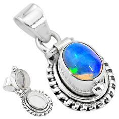 925 silver 2.98cts natural multi color ethiopian opal poison box pendant t3758