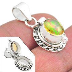 925 silver 3.13cts natural multi color ethiopian opal poison box pendant t45447